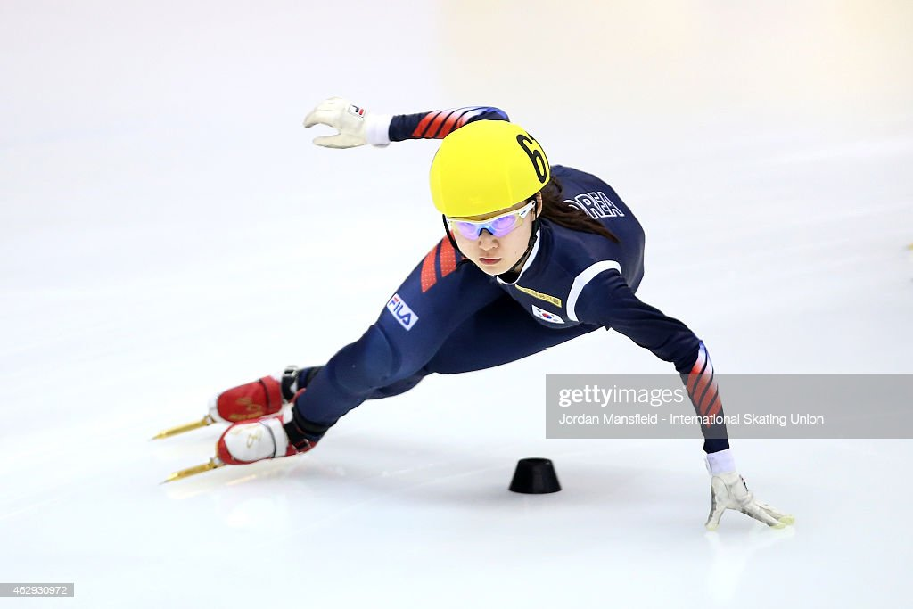 Minjeong Choi of Korea competes in the Women's 1500m semi-final race on day 1 of the ISU World Cup Short Track Speed Skating on February 7, 2015 in Dresden, Germany.