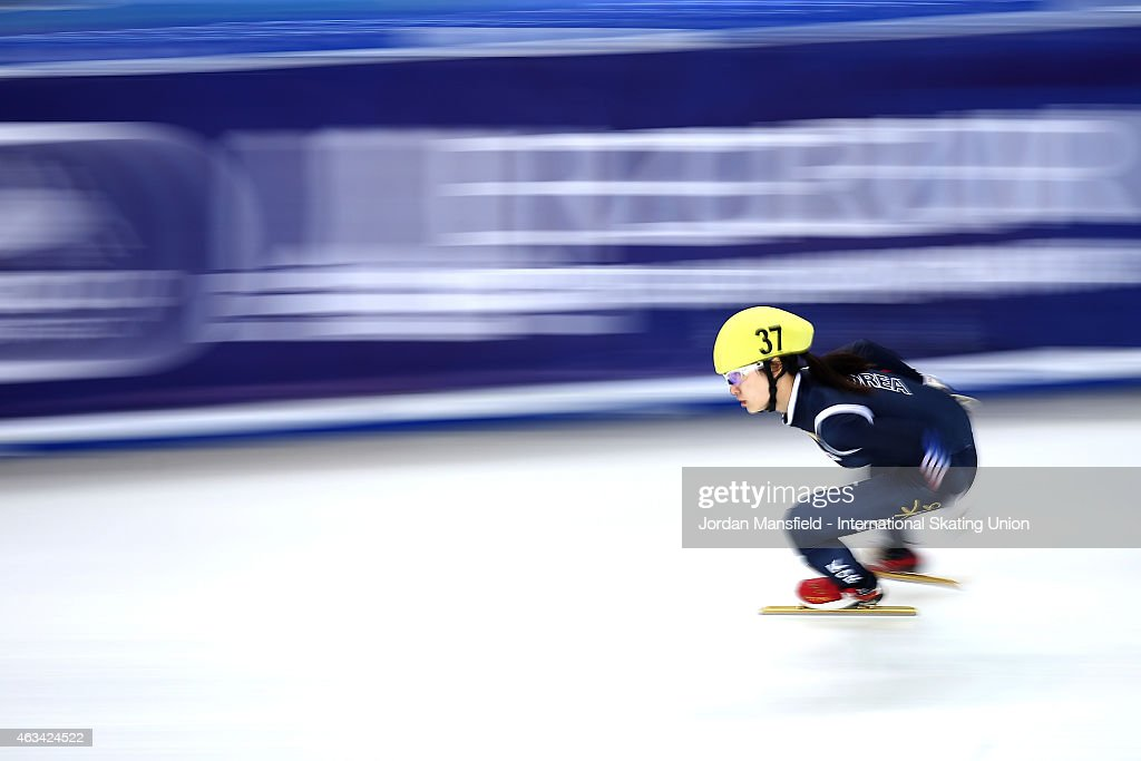 Minjeong Choi of Korea competes in the Women's 3000m Relay semi-finals on day one of the ISU World Cup Short Track Speed Skating on February 14, 2015 in Erzurum, Turkey.