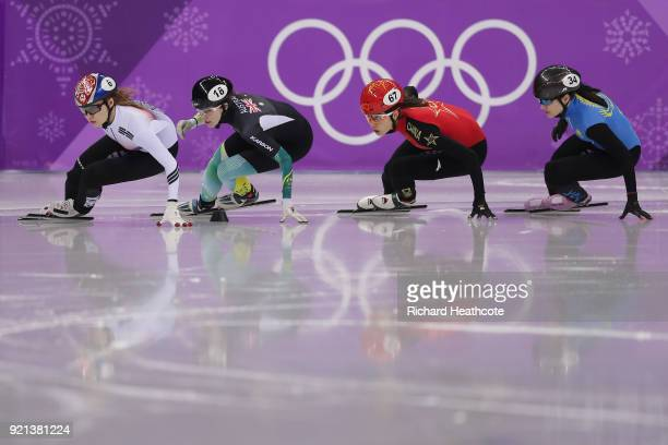 Minjeong Choi of Korea Deanna Lockett of Australia Chunyu Qu of China and Anastassiya Krestova of Kazakhstan compete during the Ladies Short Track...