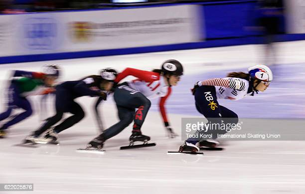 Minjeong Choi of Korea leads the pack in the women's 1500 meter semi finals during the ISU World Cup Short Track Speed Skating event November 5 2016...