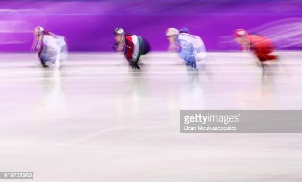 Minjeong Choi of Korea Petra Jaszapati of Hungary Sofia Prosvirnova of Olympic Athlete from Russia and Jinyu Li of China compete during the Short...
