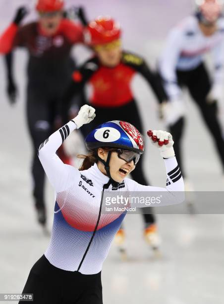 Minjeong Choi of South Korea celebrates after winning the Women's 1500m Final during the Short Track Speed Skating on day eight of the PyeongChang...