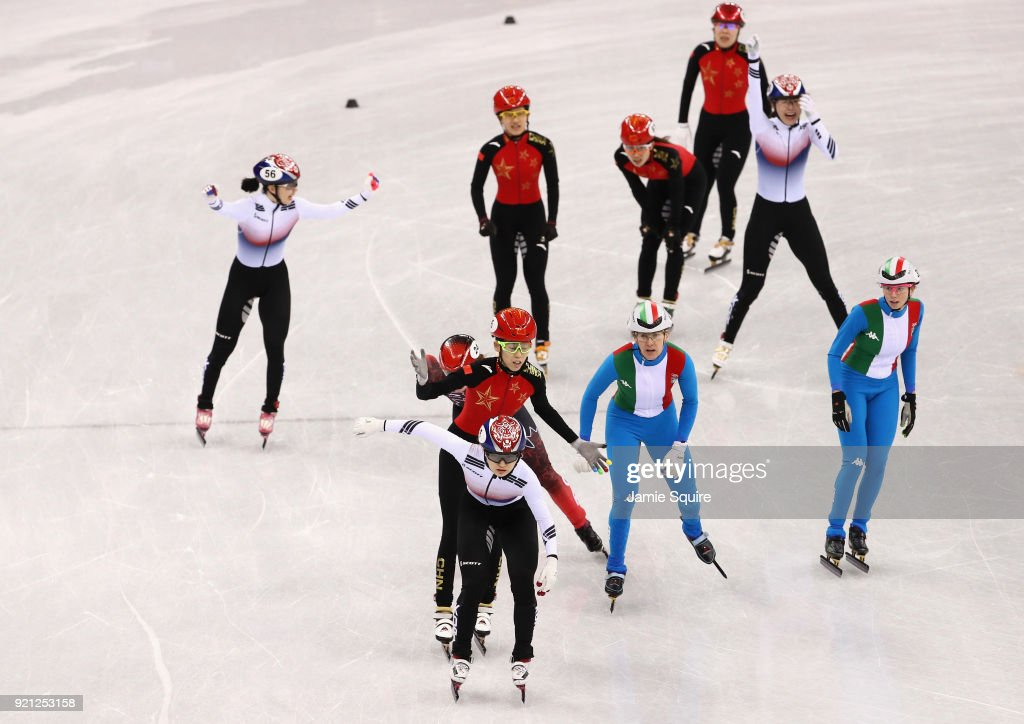 Minjeong of Choi of Korea celebrates winning the gold medal during the Ladies Short Track Speed Skating 3000m Relay Final A on day eleven of the PyeongChang 2018 Winter Olympic Games at Gangneung Ice Arena on February 20, 2018 in Gangneung, South Korea.
