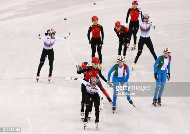 Minjeong of Choi of Korea celebrates winning the gold medal during the Ladies Short Track Speed Skating 3000m Relay Final A on day eleven of the...
