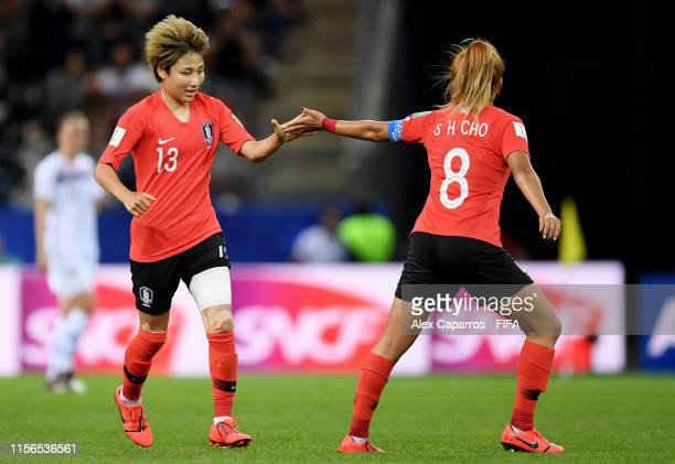 Minji Yeo of Korea Republic celebrates with teammate Sohyun Cho after scoring her team's first goal during the 2019 FIFA Women's World Cup France...