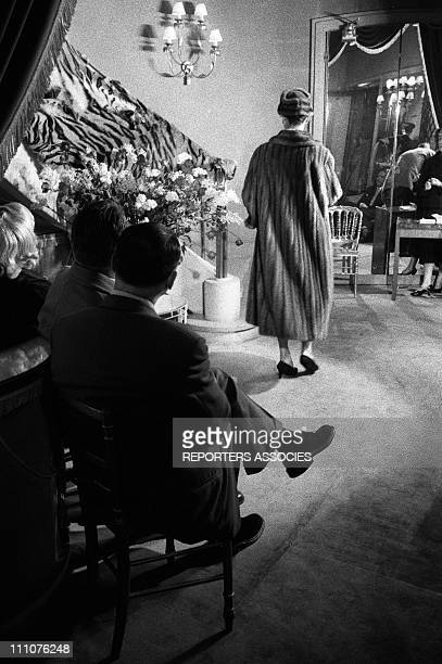 Mink coat jewelry at a fashion show in Paris France in 1956