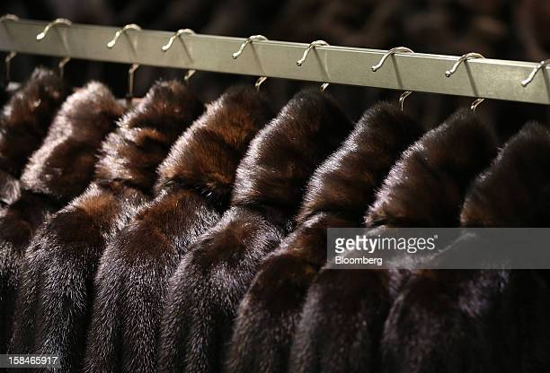Mink fur coats hang from a display rack at the World of Fur and Leather store in Moscow Russia on Sunday Dec 16 2012 Russia's government should...