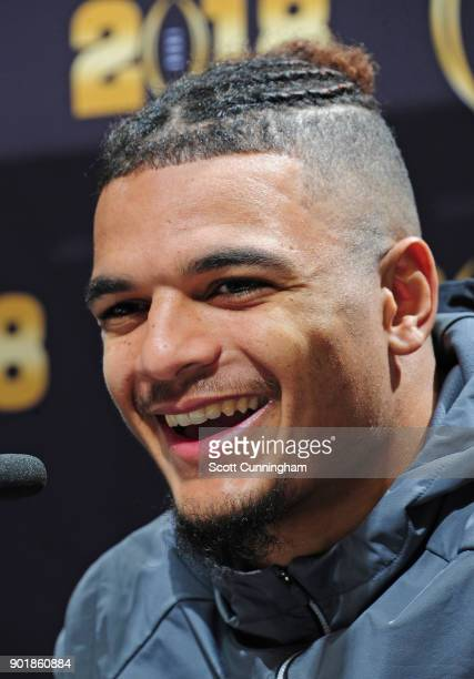 Minkah Fitzpatrick of the Alabama Crimson Tide speaks to the media during the College Football Playoff National Championship Media Day at Philips...