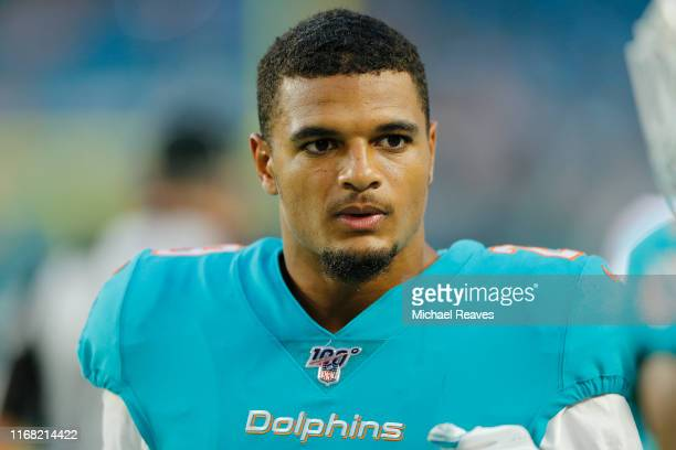 Minkah Fitzpatrick of the Miami Dolphins looks on during the preseason game against the Atlanta Falcons at Hard Rock Stadium on August 08 2019 in...