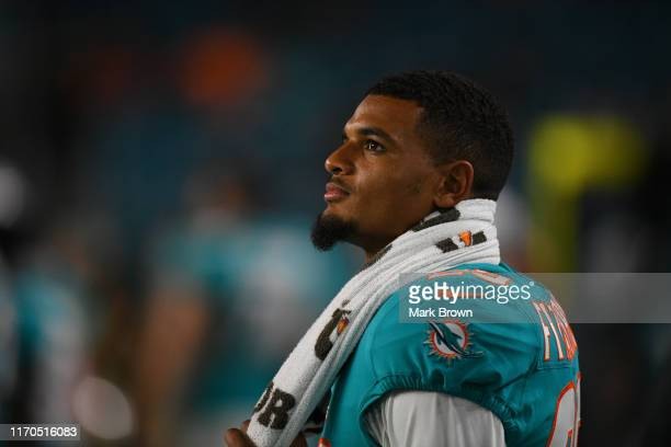 Minkah Fitzpatrick of the Miami Dolphins looks on during the preseason game against the Jacksonville Jaguars at Hard Rock Stadium on August 22 2019...