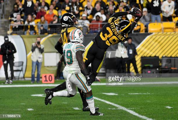 Minkah Fitzpatrick of the Pittsburgh Steelers intercepts a pass throw by Ryan Fitzpatrick of the Miami Dolphins in the third quarter during the game...