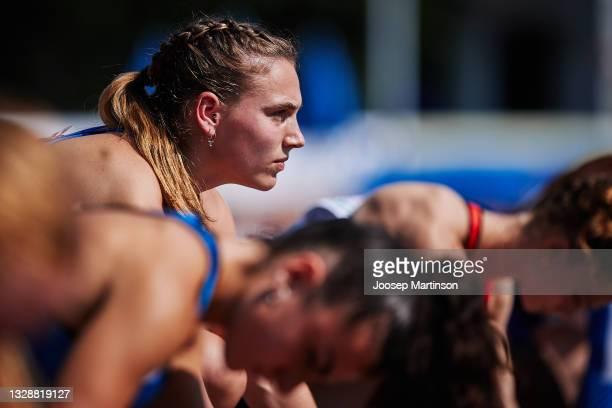 Minke Bisschops of Netherlands competes in the Women's 100m Round 1 heats during European Athletics U20 Championships Day 1 at Kadriorg Stadium on...