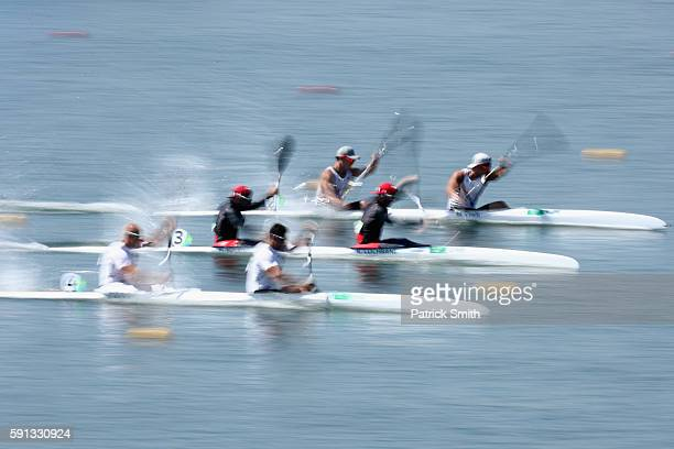Minkyu Choi and Gwanghee Cho of South Korea Ryan Cochrane and Hugues Fournel of Canada Sandor Totka and Peter Molnar of Hungary compete in the Men's...