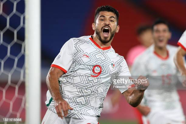 Minkyu Song of Team South Korea celebrates after scoring their side's fourth goal during the Men's Quarter Final match between Republic Of Korea and...