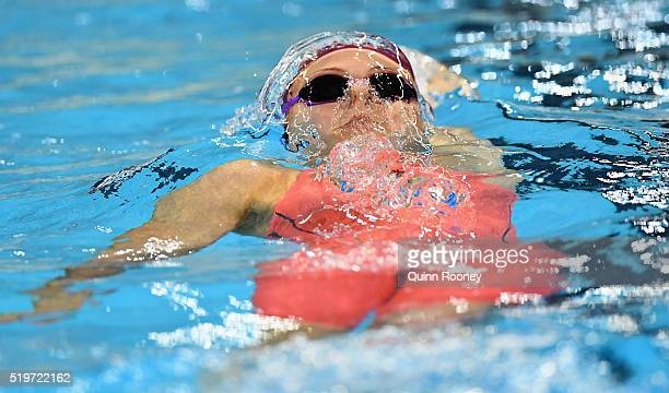 Minna Atherton of Australia competes in the Women's 100 Metre Backstroke during day two of the 2016 Australian Swimming Championships at the South...