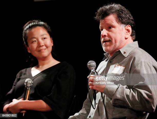 Minna Choi and Gino Robair participate in a town hall event held at The Chapel on September 11 2017 in San Francisco California hosted by the San...