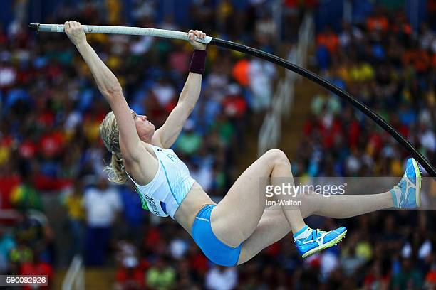 Minna Nikkanen of Finland competes during the Women's Pole Vault Qualifying Round Group B on Day 11 of the Rio 2016 Olympic Games at the Olympic...