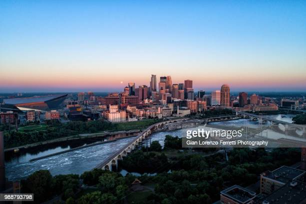 minneapolis at sunsrise - minneapolis stock photos and pictures