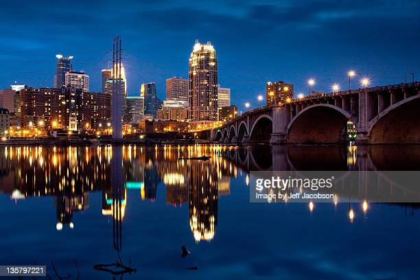 minneapolis blue hour - minneapolis stock photos and pictures
