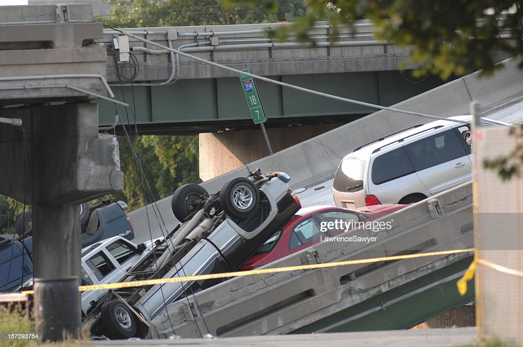 Minneapolis bridge collapse : Stock Photo
