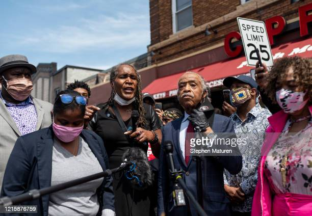 Minneapolis City Council Vice President Andrea Jenkins speaks to a group gathered outside the Cup Foods where George Floyd was killed in police...