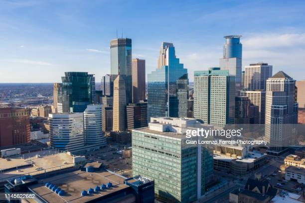 minneapolis from above - minneapolis stock photos and pictures