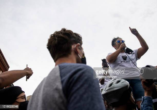 Minneapolis Mayor Jacob Frey is questioned by a member of the Black Visions Collective during a demonstration calling for the Minneapolis Police...