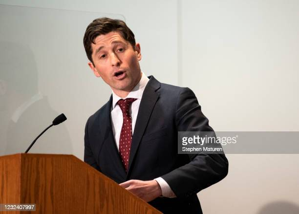 Minneapolis Mayor Jacob Frey speaks at a press conference about public safety on April 19, 2021 in St. Paul, Minnesota. Closing statements were heard...