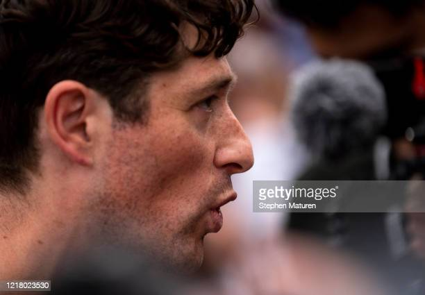 Minneapolis Mayor Jacob Frey speaks with demonstrators calling for the Minneapolis Police Department to be defunded on June 6 2020 in Minneapolis...