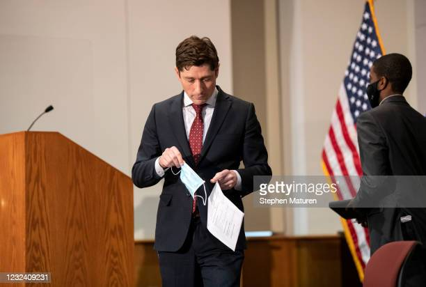 Minneapolis Mayor Jacob Frey takes a seat after speaking during a press conference about public safety as the Derek Chauvin murder trial goes to jury...