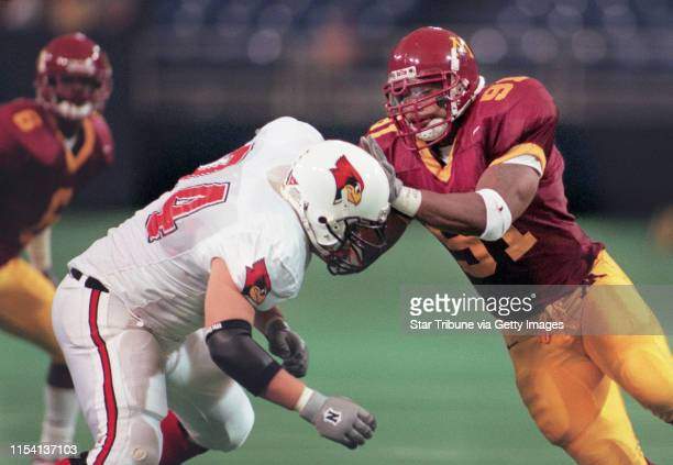 Minneapolis Metrodome Saturday Sept 18 UM vs Illinois State football Minnesota Gopher Defensive End Karon Riley works against Illinois State...