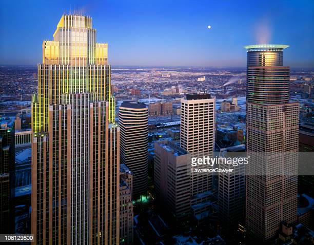 minneapolis, minnesota aerial at dusk - minneapolis stock photos and pictures