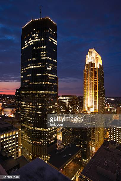 Minneapolis, Minnesota cityscape at dusk.
