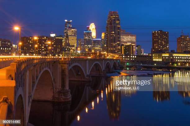 minneapolis, minnesota downtown skyline - river mississippi stock photos and pictures