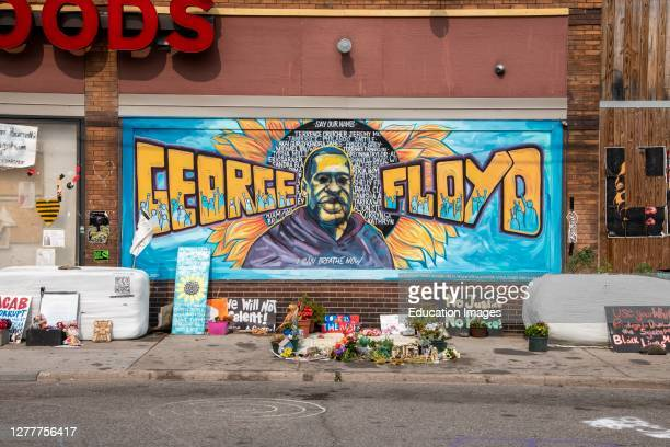 Minneapolis, Minnesota, George Floyd memorial at 38th and Chicago who was killed by police.