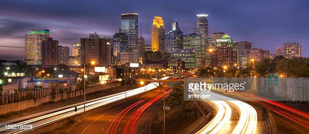 minneapolis, minnesota twilight cityscape. - minneapolis stock photos and pictures