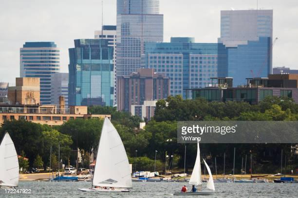 Minneapolis, Minnesota Urban Scene of Lake Calhoun Sailboats, Downtown Skyline