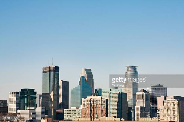 minneapolis, minnesota urban skyline, downtown district daytime cityscape of skyscrapers - minneapolis stock photos and pictures
