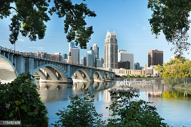 minneapolis, minnesota with 3rd ave. bridge. - minneapolis stock photos and pictures