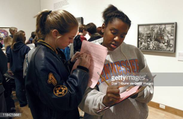 Minneapolis MN Friday 1/31/2003 Breck 8th graders Jamie Erdahl and Alison Chaney filled out study worksheets during a class visit to the In the...
