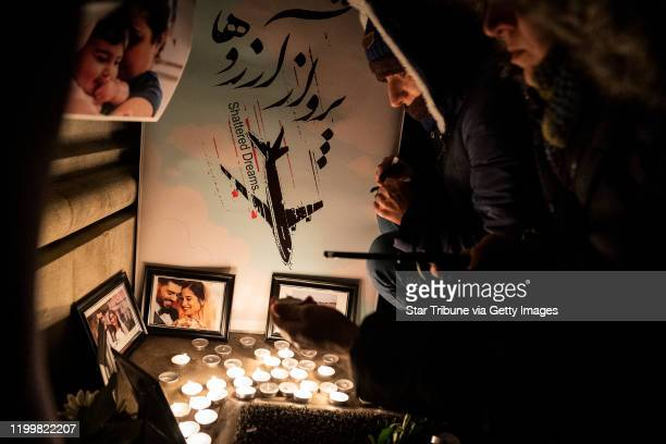 Minneapolis, MN January 15: U of M PhD student Darya Biparva paid respects at a candlelight memorial for the victims of Ukraine International...