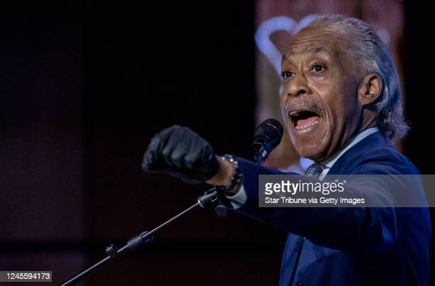 Rev Al Sharpton spoke during a memorial service for George Floyd at North Central University in Minneapolis