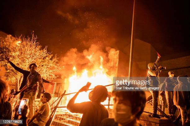 The Minneapolis 3rd Police Precinct was set on fire by protesters after being evacuated on Thursday night