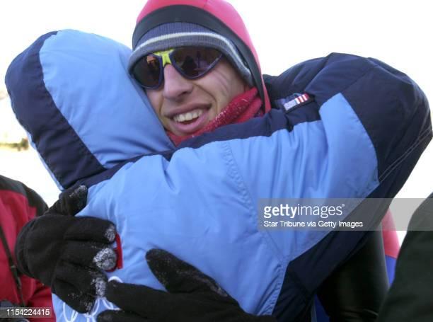 Minneapolis Mn Sat Jan 18 2003Speedskating Olympian Jason Hedstrand of Shoreview won the 25K speedskating race at Lake of the Isles He gets a...