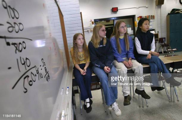 Minneapolis, MN - Seventh and eighth grade girls from the Field School , who recently won 1st place in the State Mathcounts Competition, the first...