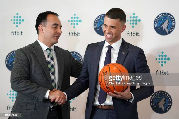 Newly named Timberwolves Head Coach Ryan Saunders got a hand shake from President of Basketball Operations Gersson Rosas following Tuesday's press...