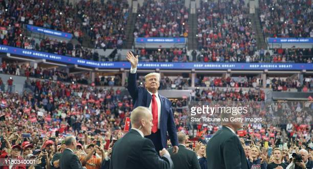Minneapolis, MN-October 10: President Donald Trump greeted cheering crowds at the Target Center in Minneapolis, Minnesota.