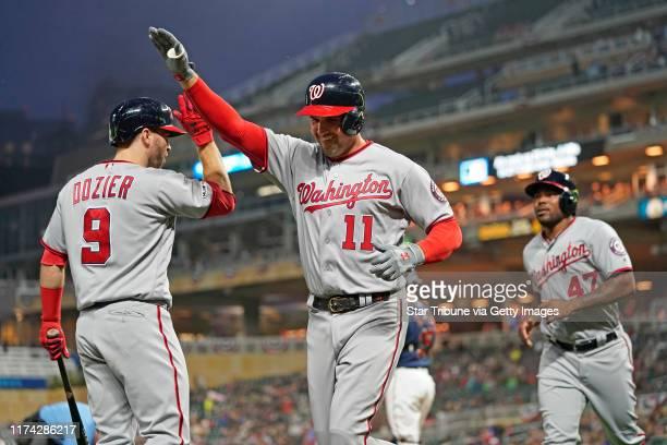 Washington Nationals first baseman Ryan Zimmerman celebrated his home run with Washington Nationals second baseman Brian Dozier in the third inning