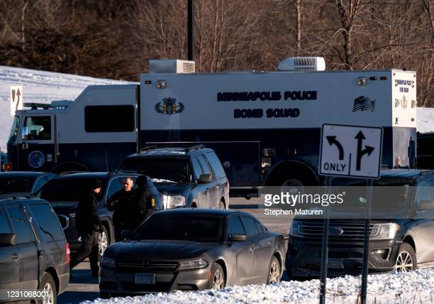 Minneapolis Police Bomb Squad vehicle is seen outside the Allina Health Clinic where a shooting took place earlier today on February 9, 2021 in...