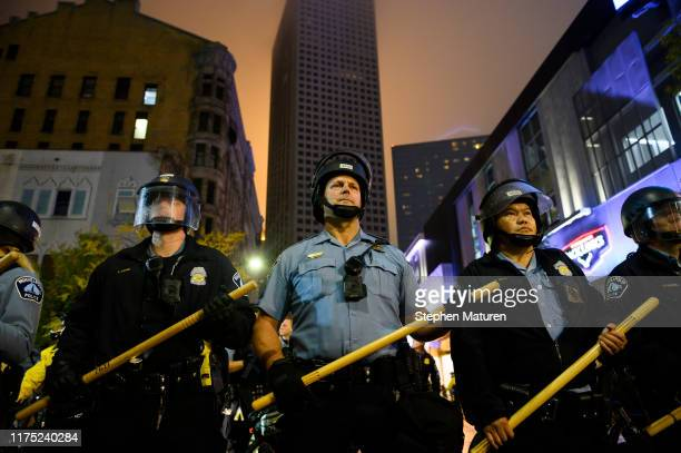 Minneapolis Police create a blockade after a campaign rally for U.S. President Donald Trump at the Target Center on October 10, 2019 in Minneapolis,...